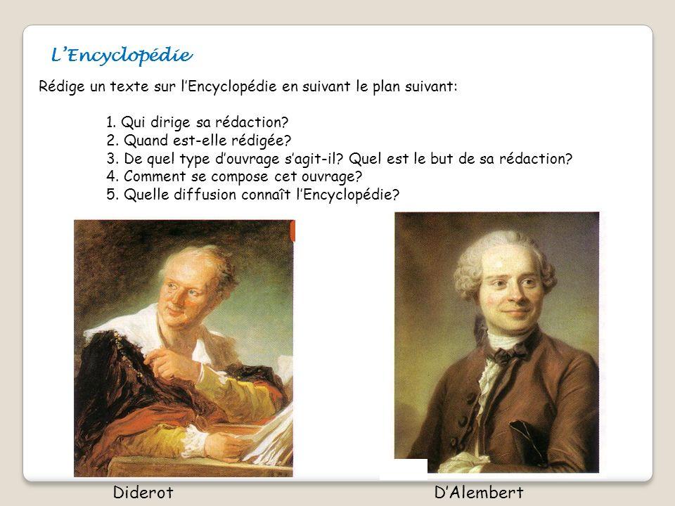 LEncyclopédie Rédige un texte sur lEncyclopédie en suivant le plan suivant: 1. Qui dirige sa rédaction? 2. Quand est-elle rédigée? 3. De quel type dou