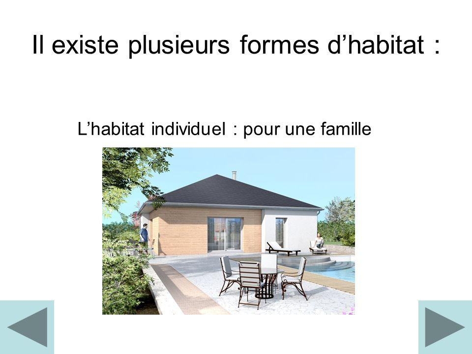 Il existe plusieurs formes dhabitat : Lhabitat collectif : pour plusieurs familles