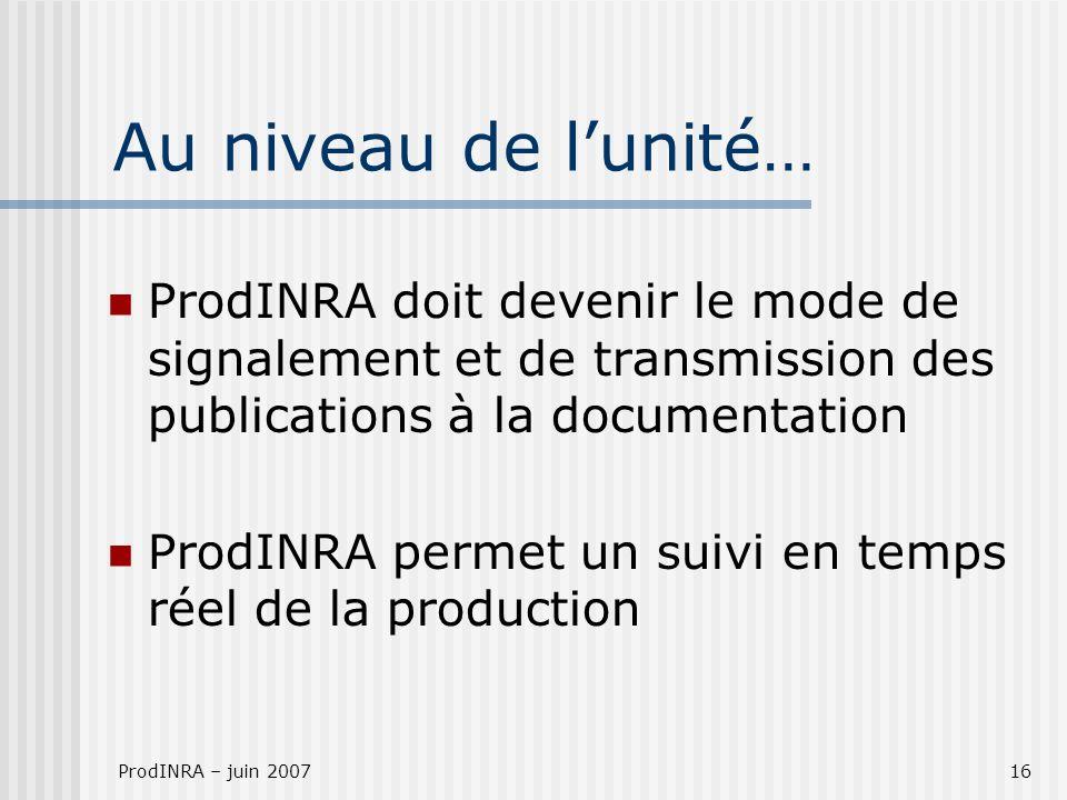 ProdINRA – juin 200716 Au niveau de lunité… ProdINRA doit devenir le mode de signalement et de transmission des publications à la documentation ProdINRA permet un suivi en temps réel de la production