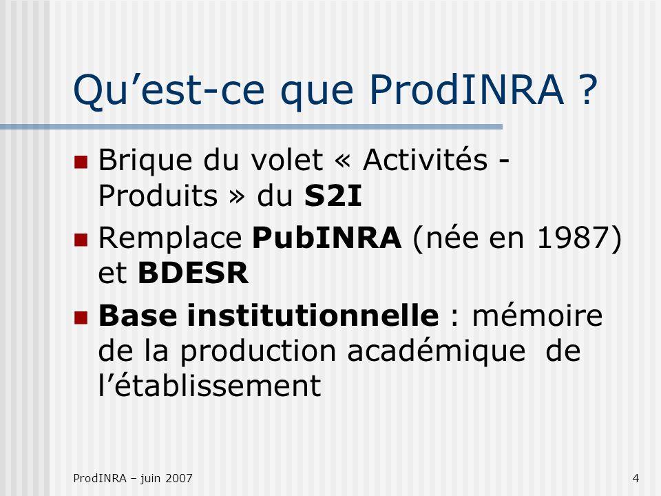 ProdINRA – juin 20074 Quest-ce que ProdINRA ? Brique du volet « Activités - Produits » du S2I Remplace PubINRA (née en 1987) et BDESR Base institution
