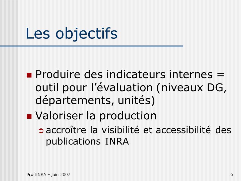 ProdINRA – juin 20076 Les objectifs Produire des indicateurs internes = outil pour lévaluation (niveaux DG, départements, unités) Valoriser la production accroître la visibilité et accessibilité des publications INRA