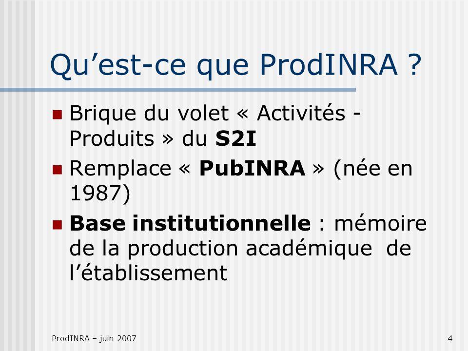ProdINRA – juin 20074 Quest-ce que ProdINRA ? Brique du volet « Activités - Produits » du S2I Remplace « PubINRA » (née en 1987) Base institutionnelle