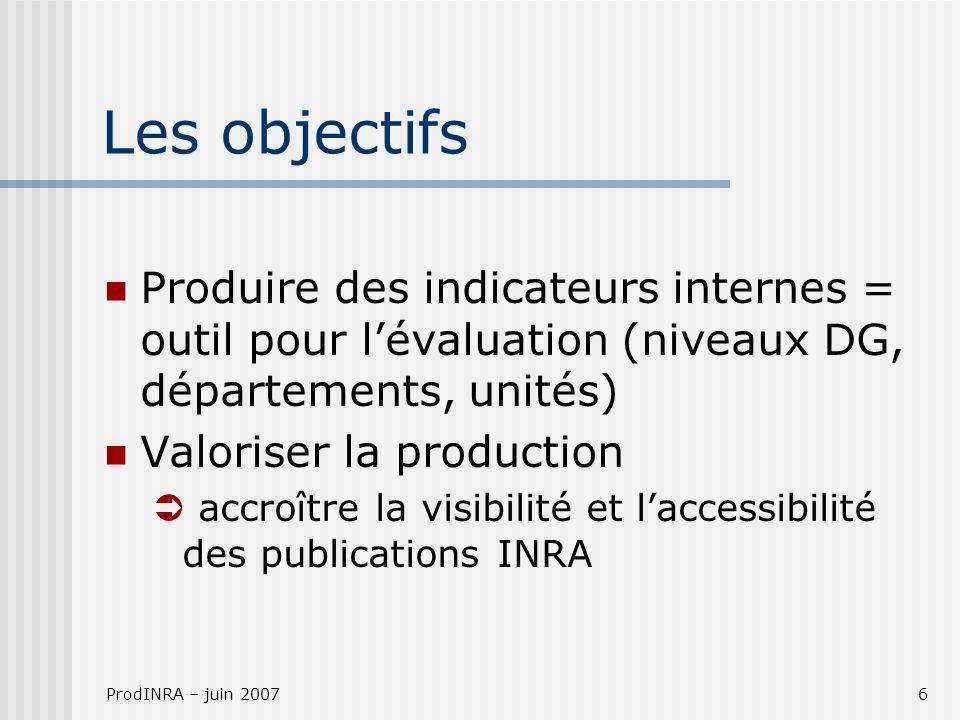 ProdINRA – juin 20076 Les objectifs Produire des indicateurs internes = outil pour lévaluation (niveaux DG, départements, unités) Valoriser la production accroître la visibilité et laccessibilité des publications INRA
