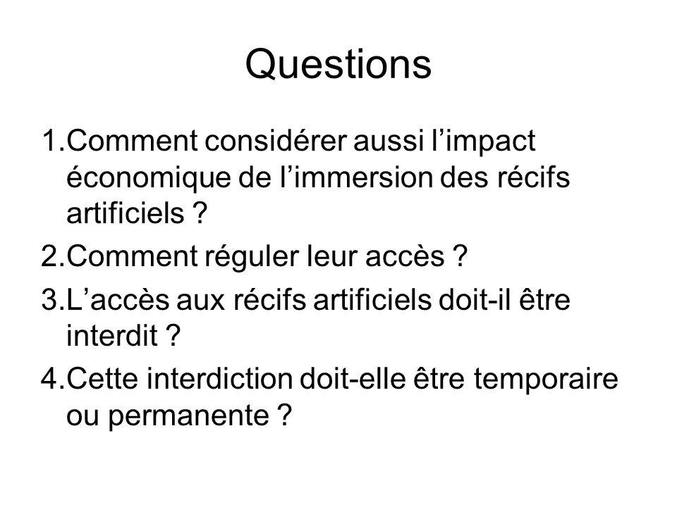Questions 1.Comment considérer aussi limpact économique de limmersion des récifs artificiels ? 2.Comment réguler leur accès ? 3.Laccès aux récifs arti