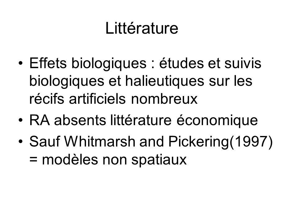 Littérature Effets biologiques : études et suivis biologiques et halieutiques sur les récifs artificiels nombreux RA absents littérature économique Sa