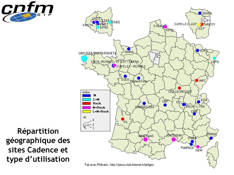 Répartition géographique des sites Cadence et type dutilisation