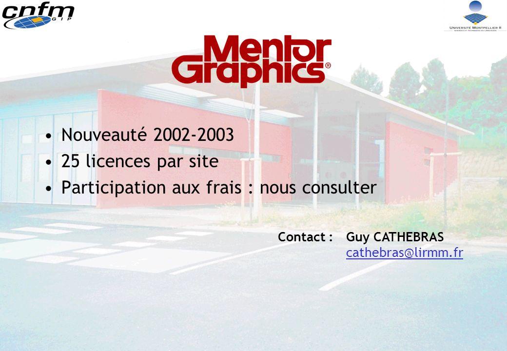 Nouveauté 2002-2003 25 licences par site Participation aux frais : nous consulter Contact :Guy CATHEBRAS cathebras@lirmm.fr