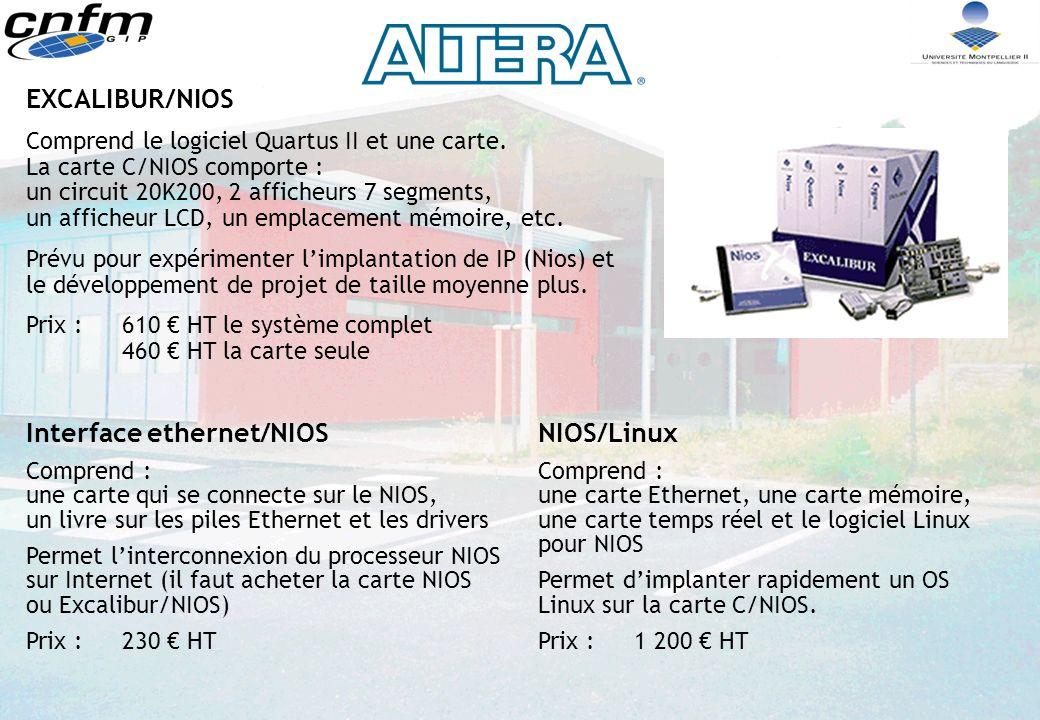 EXCALIBUR/NIOS Comprend le logiciel Quartus II et une carte.