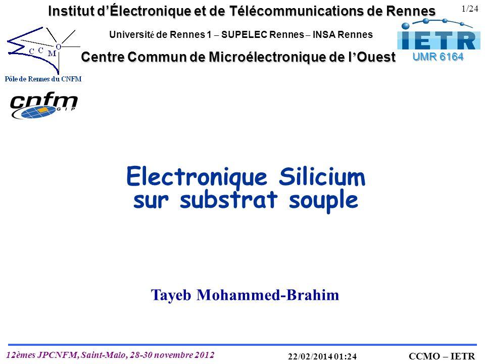 IETR UMR 6164 T. MOHAMMED-BRAHIM CCMO – IETR 12èmes JPCNFM, Saint-Malo, 28-30 novembre 2012 22/02/2014 01:25 Electronique Silicium sur substrat souple