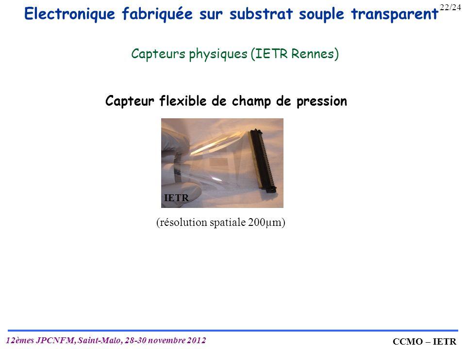 IETR UMR 6164 T. MOHAMMED-BRAHIM CCMO – IETR 12èmes JPCNFM, Saint-Malo, 28-30 novembre 2012 Capteur flexible de champ de pression (résolution spatiale
