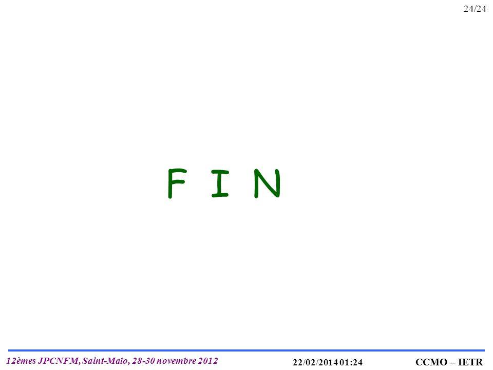 IETR UMR 6164 T. MOHAMMED-BRAHIM CCMO – IETR 12èmes JPCNFM, Saint-Malo, 28-30 novembre 2012 22/02/2014 01:25 24/24 F I N