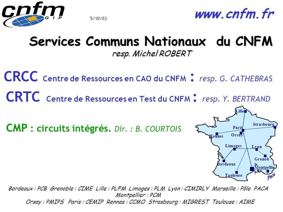 Services Communs Nationaux du CNFM resp. Michel ROBERT CRCC Centre de Ressources en CAO du CNFM : resp. G. CATHEBRAS CRTC Centre de Ressources en Test