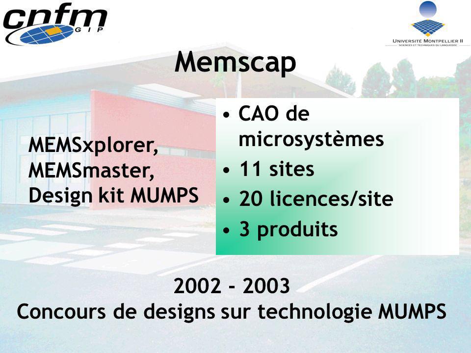 Memscap CAO de microsystèmes 11 sites 20 licences/site 3 produits MEMSxplorer, MEMSmaster, Design kit MUMPS 2002 - 2003 Concours de designs sur techno