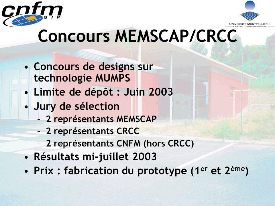 Concours MEMSCAP/CRCC Concours de designs sur technologie MUMPS Limite de dépôt : Juin 2003 Jury de sélection –2 représentants MEMSCAP –2 représentant