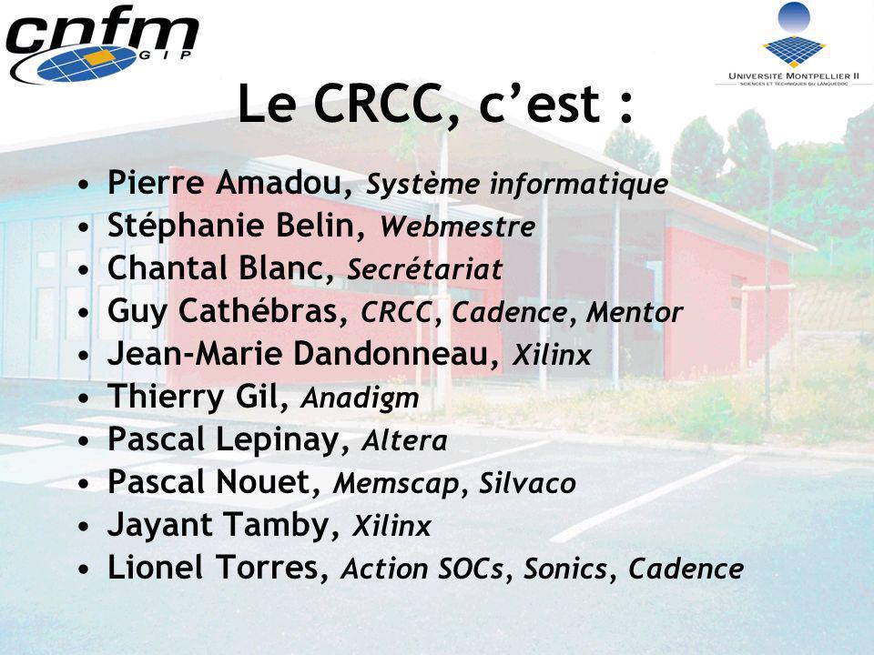 Le CRCC, cest : Pierre Amadou, Système informatique Stéphanie Belin, Webmestre Chantal Blanc, Secrétariat Guy Cathébras, CRCC, Cadence, Mentor Jean-Ma