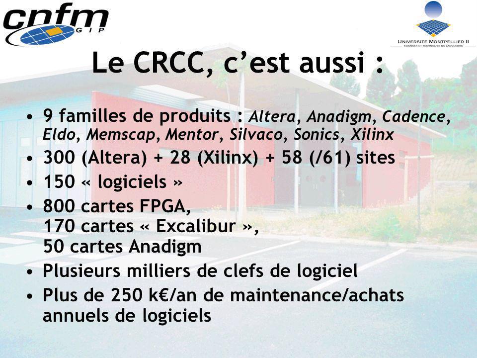Le CRCC, cest aussi : 9 familles de produits : Altera, Anadigm, Cadence, Eldo, Memscap, Mentor, Silvaco, Sonics, Xilinx 300 (Altera) + 28 (Xilinx) + 5