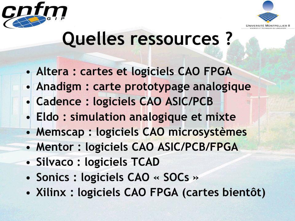 Altera 300 sites (+60/an) 1000 licences logiciels 800 cartes UP-DLP 160 cartes Excalibur NIOS 7 cartes Excalibur ARM Stage Excalibur ARM prévu en mars 2003