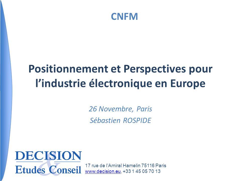 26 Novembre, Paris Sébastien ROSPIDE Positionnement et Perspectives pour lindustrie électronique en Europe CNFM 17 rue de lAmiral Hamelin 75116 Paris