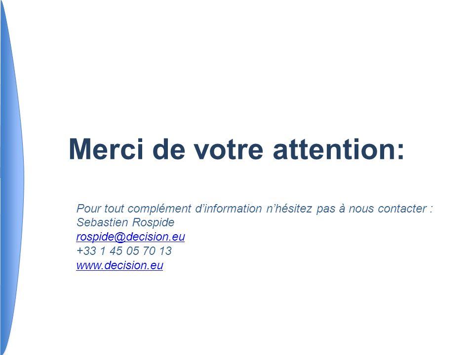 Pour tout complément dinformation nhésitez pas à nous contacter : Sebastien Rospide rospide@decision.eu +33 1 45 05 70 13 www.decision.eu Merci de vot