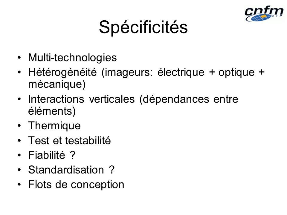 Spécificités Multi-technologies Hétérogénéité (imageurs: électrique + optique + mécanique) Interactions verticales (dépendances entre éléments) Thermique Test et testabilité Fiabilité .