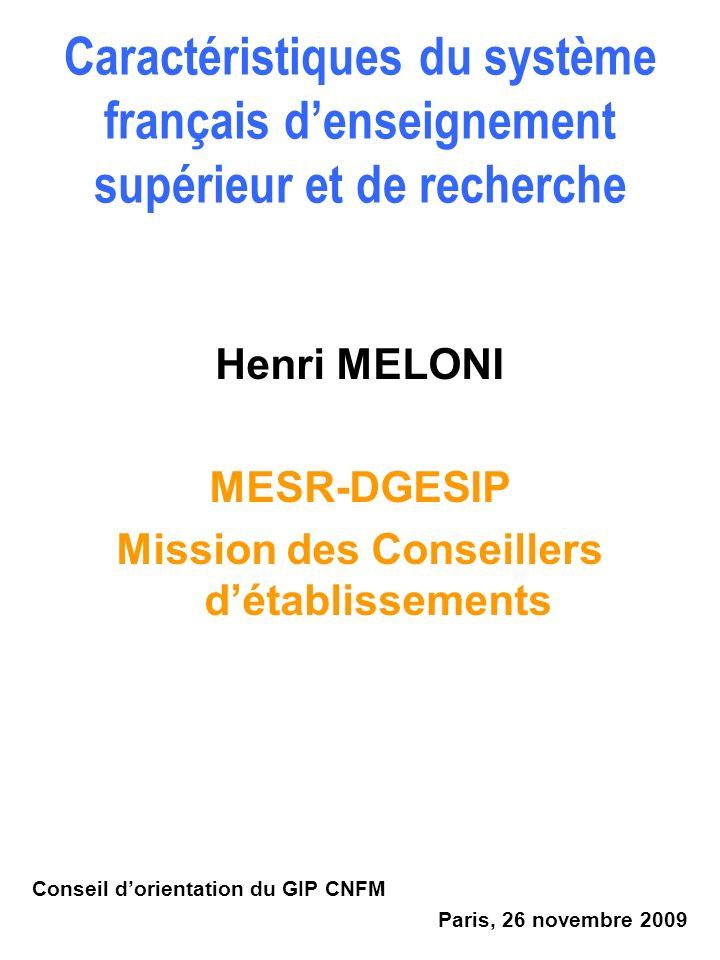 Henri MELONI MESR-DGESIP Mission des Conseillers détablissements Conseil dorientation du GIP CNFM Paris, 26 novembre 2009 Caractéristiques du système