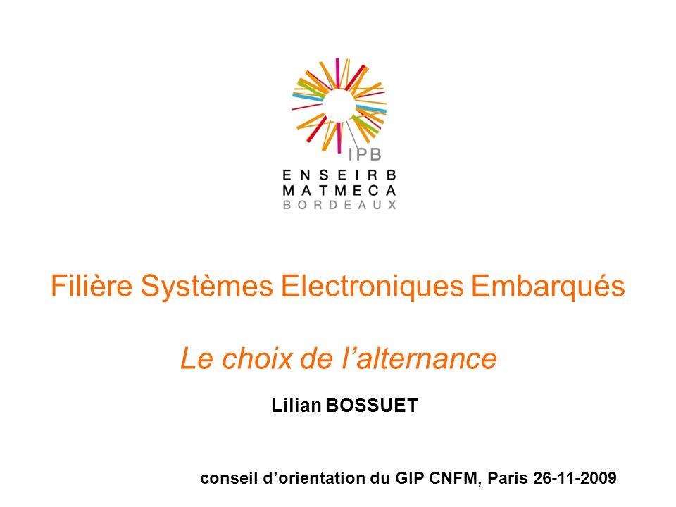 Filière Systèmes Electroniques Embarqués Le choix de lalternance Lilian BOSSUET conseil dorientation du GIP CNFM, Paris 26-11-2009