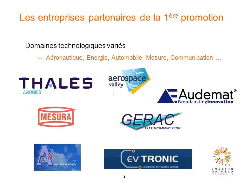 6 Les entreprises partenaires de la 1 ère promotion Domaines technologiques variés –Aéronautique, Energie, Automobile, Mesure, Communication …