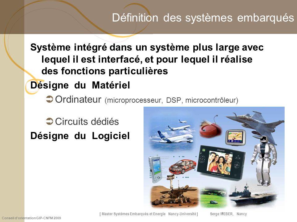 [ Master Systèmes Embarqués et Énergie Nancy-Université ] Serge WEBER, Nancy Conseil dorientation GIP-CNFM 2009 4 Définition des systèmes embarqués Sy