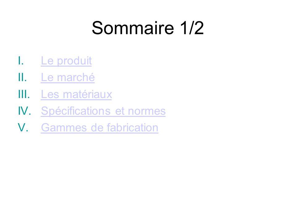 Sommaire 1/2 I.Le produitLe produit II.Le marchéLe marché III.Les matériauxLes matériaux IV.Spécifications et normesSpécifications et normes V.Gammes