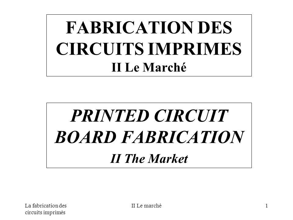 La fabrication des circuits imprimés II Le marché1 FABRICATION DES CIRCUITS IMPRIMES II Le Marché PRINTED CIRCUIT BOARD FABRICATION II The Market