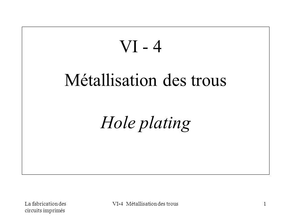La fabrication des circuits imprimés VI-4 Métallisation des trous1 Métallisation des trous Hole plating VI - 4