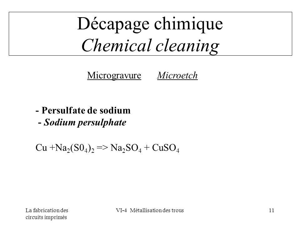 La fabrication des circuits imprimés VI-4 Métallisation des trous11 Décapage chimique Chemical cleaning Microgravure Microetch - Persulfate de sodium