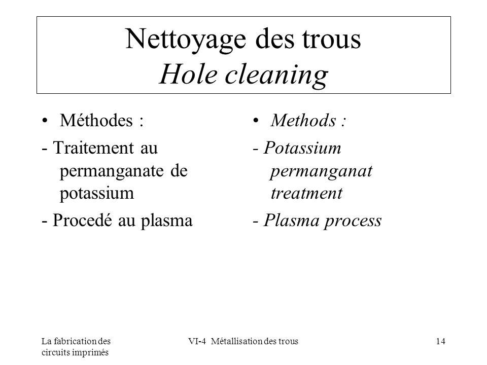 La fabrication des circuits imprimés VI-4 Métallisation des trous14 Nettoyage des trous Hole cleaning Méthodes : - Traitement au permanganate de potas