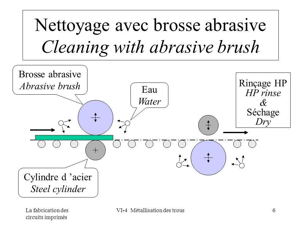 La fabrication des circuits imprimés VI-4 Métallisation des trous6 Nettoyage avec brosse abrasive Cleaning with abrasive brush Brosse abrasive Abrasiv