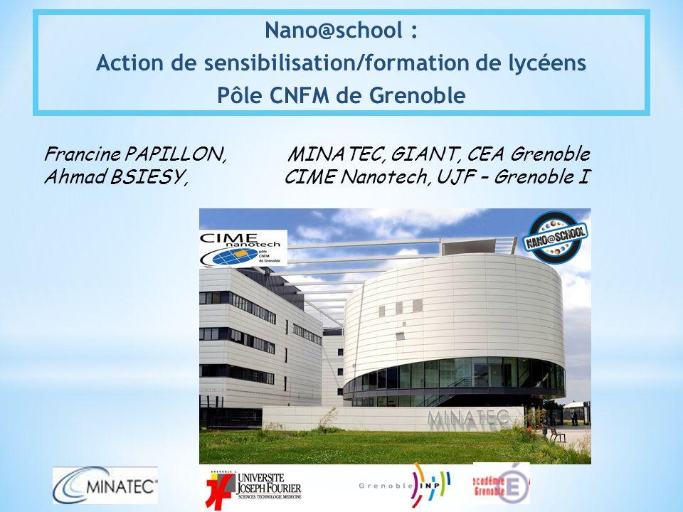 Nano@school : Action de sensibilisation/formation de lycéens Pôle CNFM de Grenoble Francine PAPILLON, MINATEC, GIANT, CEA Grenoble Ahmad BSIESY, CIME