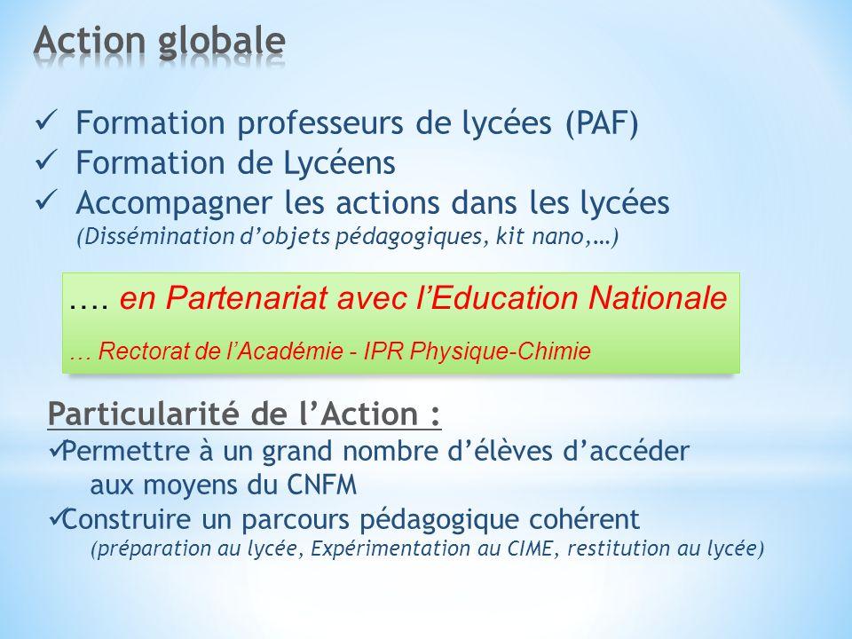 Particularité de lAction : Permettre à un grand nombre délèves daccéder aux moyens du CNFM Construire un parcours pédagogique cohérent (préparation au