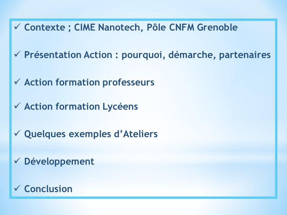 Contexte ; CIME Nanotech, Pôle CNFM Grenoble Présentation Action : pourquoi, démarche, partenaires Action formation professeurs Action formation Lycée