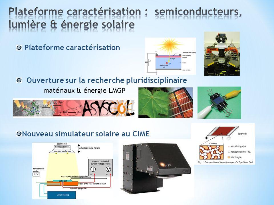 Plateforme caractérisation Ouverture sur la recherche pluridisciplinaire matériaux & énergie LMGP Nouveau simulateur solaire au CIME