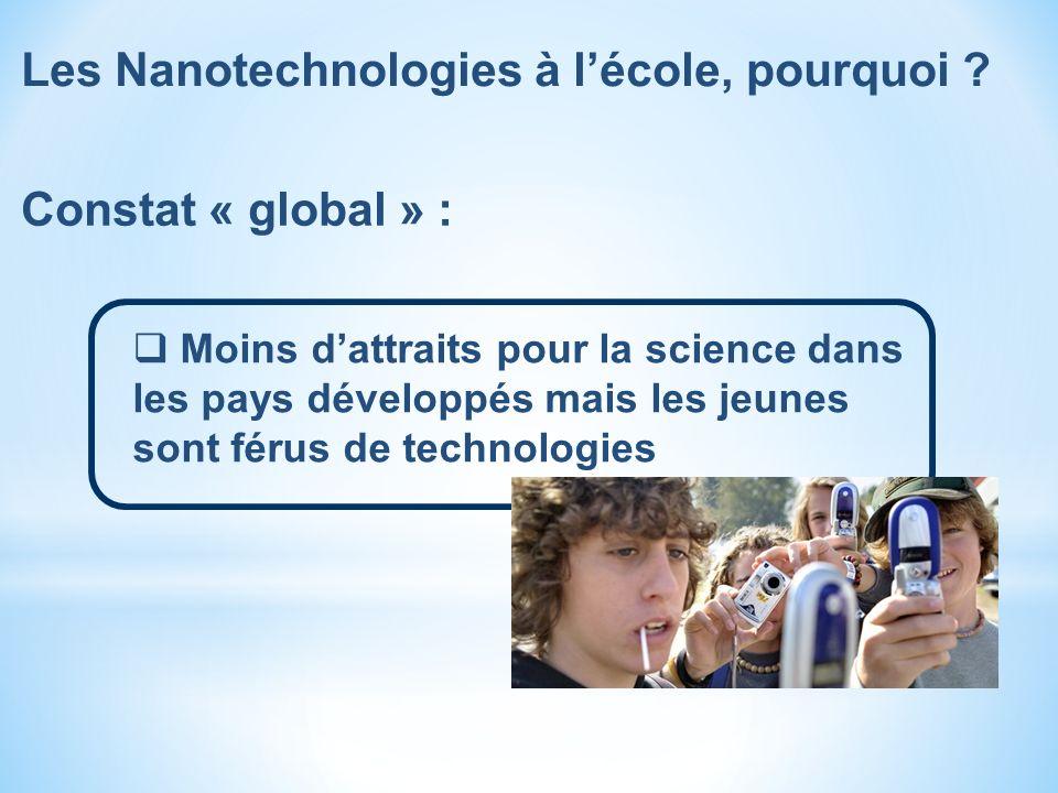 Constat « global » : Moins dattraits pour la science dans les pays développés mais les jeunes sont férus de technologies Les Nanotechnologies à lécole