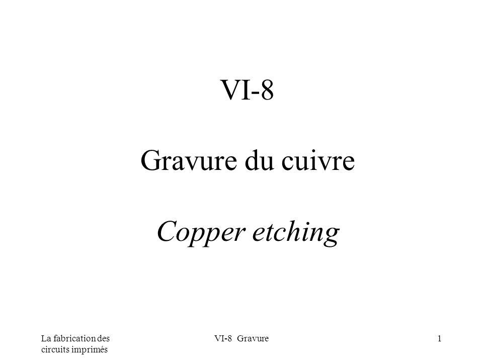 La fabrication des circuits imprimés VI-8 Gravure1 VI-8 Gravure du cuivre Copper etching