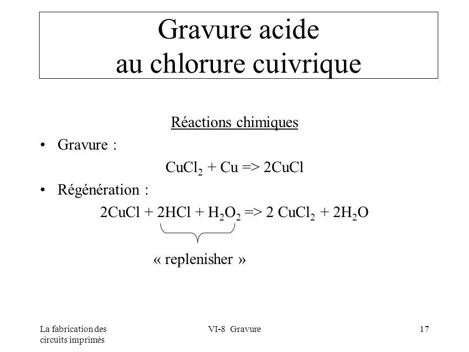 La fabrication des circuits imprimés VI-8 Gravure17 Gravure acide au chlorure cuivrique Réactions chimiques Gravure : CuCl 2 + Cu => 2CuCl Régénératio