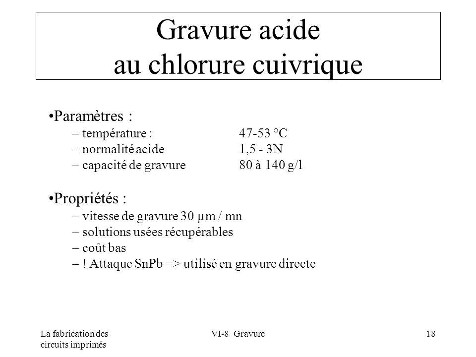 La fabrication des circuits imprimés VI-8 Gravure18 Gravure acide au chlorure cuivrique Paramètres : – température : 47-53 °C – normalité acide 1,5 -