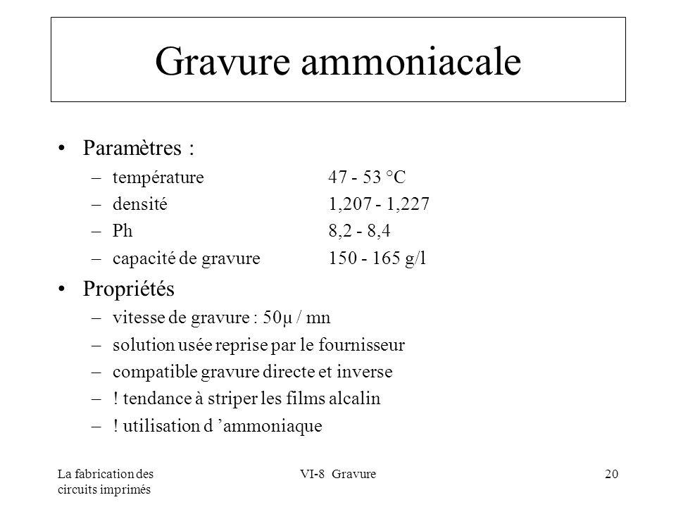 La fabrication des circuits imprimés VI-8 Gravure20 Gravure ammoniacale Paramètres : –température 47 - 53 °C –densité 1,207 - 1,227 –Ph 8,2 - 8,4 –cap