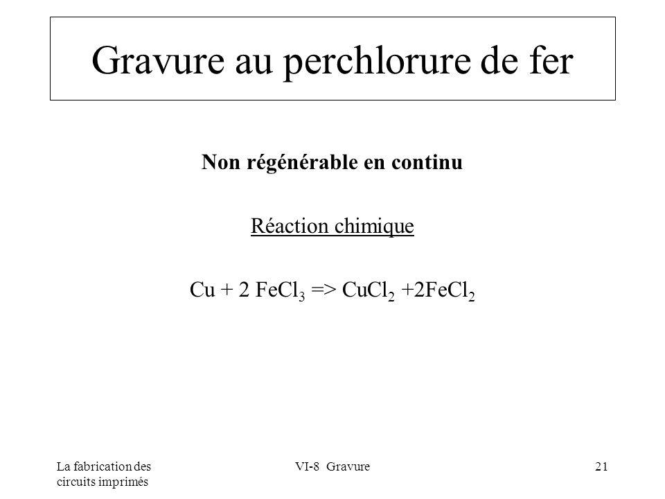 La fabrication des circuits imprimés VI-8 Gravure21 Gravure au perchlorure de fer Non régénérable en continu Réaction chimique Cu + 2 FeCl 3 => CuCl 2