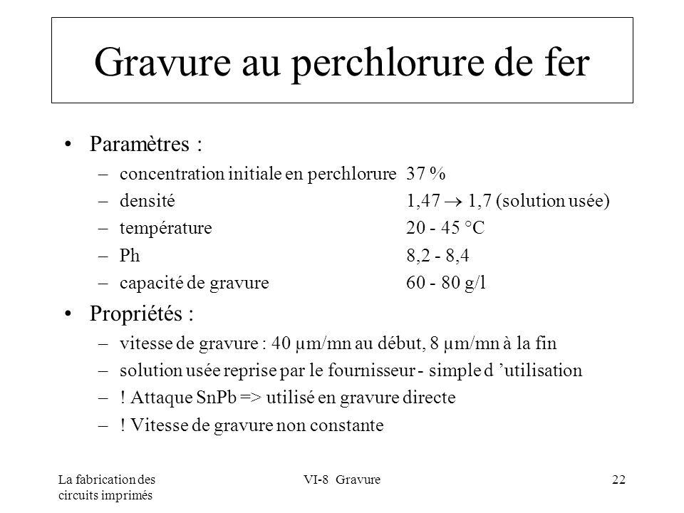 La fabrication des circuits imprimés VI-8 Gravure22 Gravure au perchlorure de fer Paramètres : –concentration initiale en perchlorure37 % –densité1,47