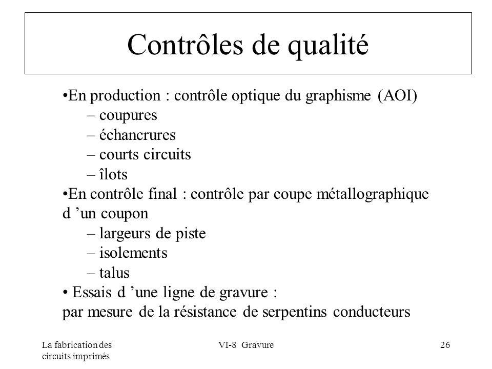 La fabrication des circuits imprimés VI-8 Gravure26 Contrôles de qualité En production : contrôle optique du graphisme (AOI) – coupures – échancrures