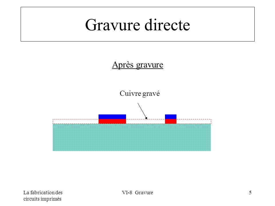 La fabrication des circuits imprimés VI-8 Gravure16 Agents de gravure Régénération possible en continu Chlorure cuivrique acide Chlorure cuivrique ammoniacal Réactions de base : –Gravure :Cu° + Cu ++ => 2Cu + –Régénération :2Cu + => 2Cu ++ + 2e -