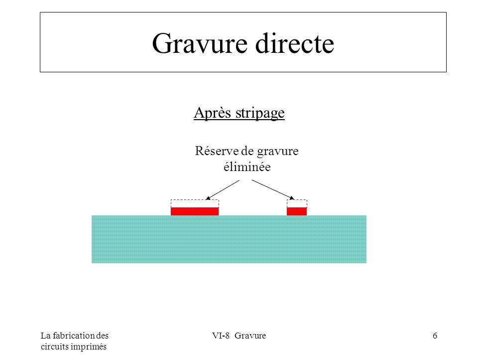 La fabrication des circuits imprimés VI-8 Gravure17 Gravure acide au chlorure cuivrique Réactions chimiques Gravure : CuCl 2 + Cu => 2CuCl Régénération : 2CuCl + 2HCl + H 2 O 2 => 2 CuCl 2 + 2H 2 O « replenisher »