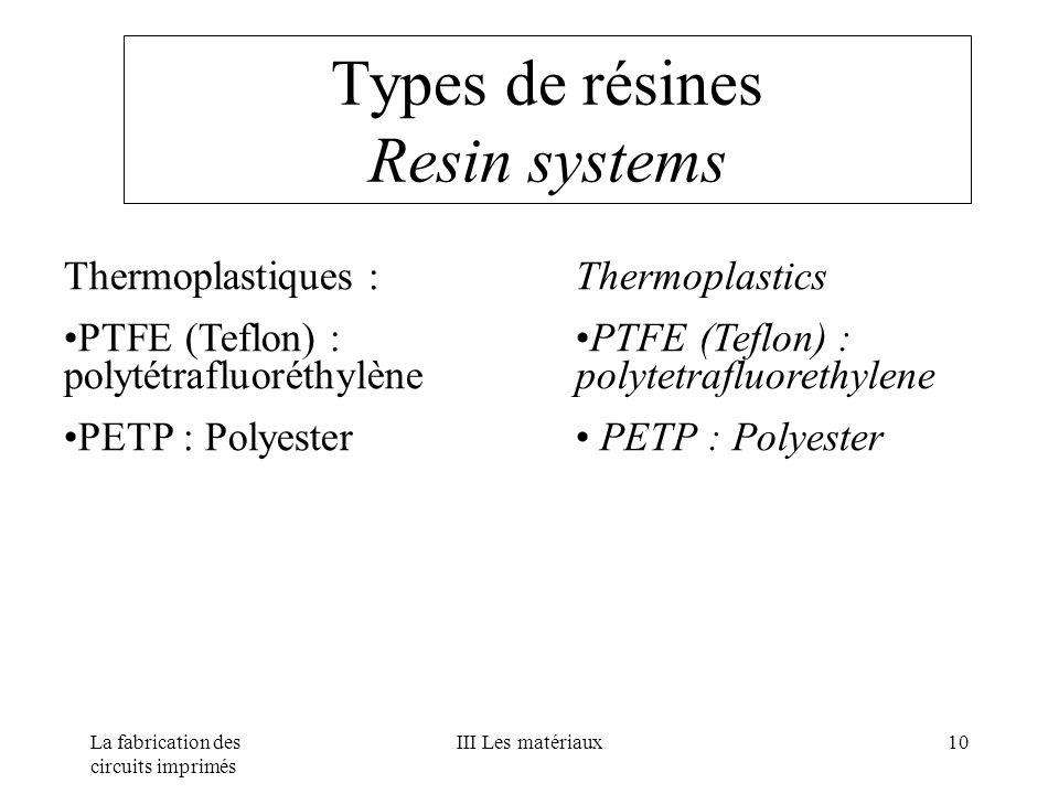 La fabrication des circuits imprimés III Les matériaux10 Thermoplastiques : PTFE (Teflon) : polytétrafluoréthylène PETP : Polyester Thermoplastics PTF