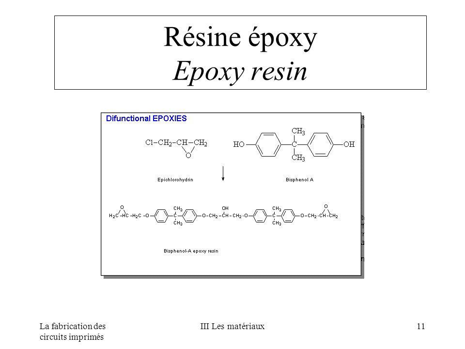 La fabrication des circuits imprimés III Les matériaux11 Résine époxy Epoxy resin